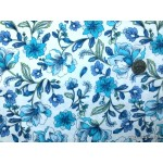 *FN02877* Double knit :Blue Flower on White (180cm)