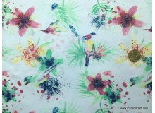 *FN02887 * Lycra knit :Flower with Parrot on White (160cm)