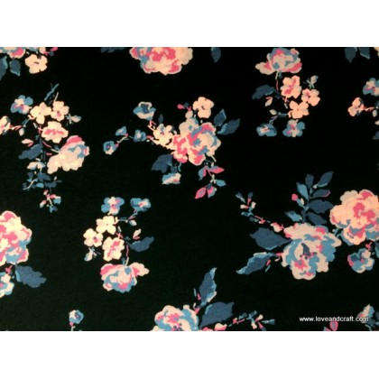 *902961* Jersey Knit: Pink Flower on Black (170cm)