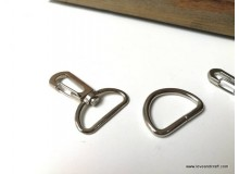 *T00339* Snap Hook + D ring set Silver 2.0-2.5cm