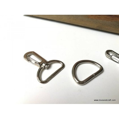*T00339(10/3)~* Snap Hook + D ring set Silver 2.0-2.5cm
