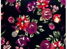 *FN02966* Lycra knit :Red Flower On Black (160cm)