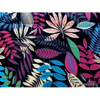 *800286* Canvas: Colorful Leaves On Black (140cm)