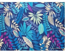 *8000301*Polyester Canvas : Colorful Leaves On Dark Blue (150cm)
