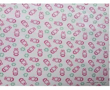 *903044* Lycra Knit: Little Rabbit Glitter on Pink (180cm)