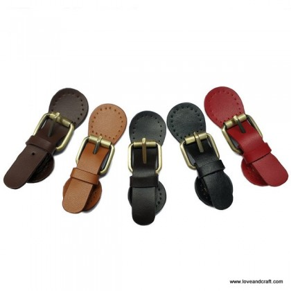 *T00351~* Cow Leather Snap Buckle / Lock: Adjustable Lock Shape