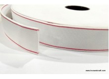 *700592* Elastic Roll: White with Red Line (2.5cm)