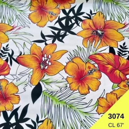 *903074* Lycra Knit: Summer Flower White (170cm)