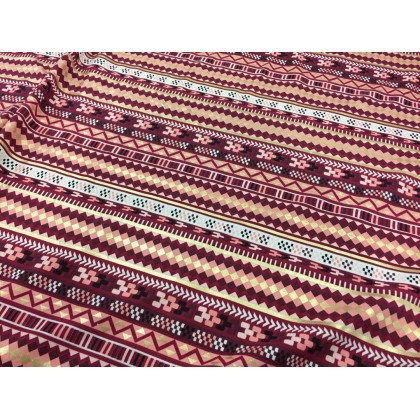 *903121* Lycra Knit: Abstract On Brown Theme (180cm)