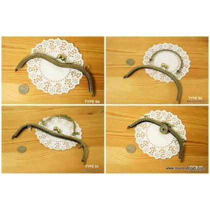 *T00403~* Assorted Metal Bag Frame / Clutch Frame Bronze