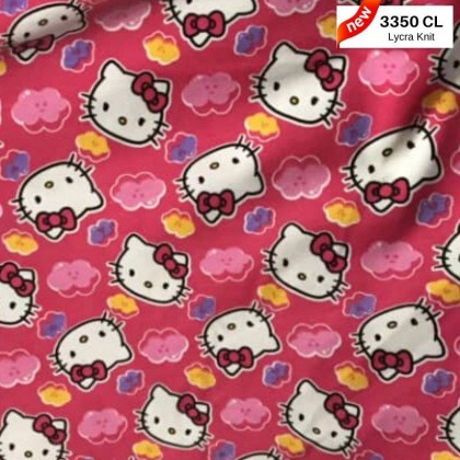 *903350* Lycra Knit: Hello Kitty with Pink Cloud (150cm)