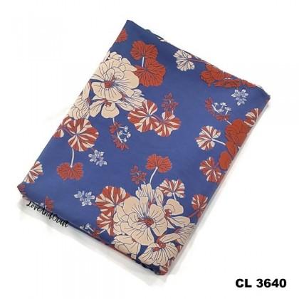 *903640* Lycra Knit: Orange Peach Flower (170cm)