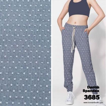 *903685* Denim Spandex Knit:Dots (170cm)