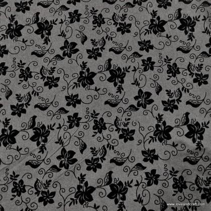 *903686* Denim Spandex Knit:Lace Flower (140cm)