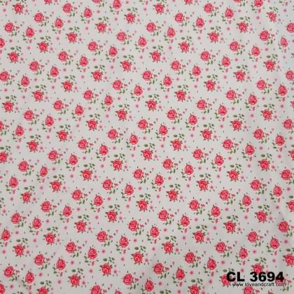 *903694* Lycra Knit: Rose And Little Flower