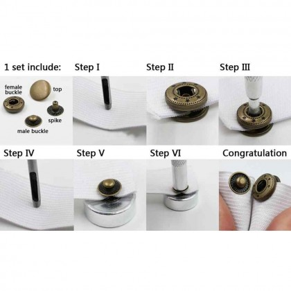 100 sets Metal Snap Button Press Stud With Installation Tools Handmade (60384)