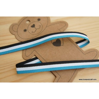 *700352* Ribbon: Blue/white/black 2.0cm