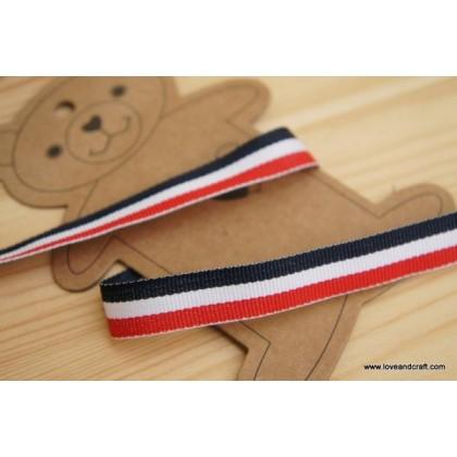 *700353* Ribbon: Dark blue/white/red 1.4cm
