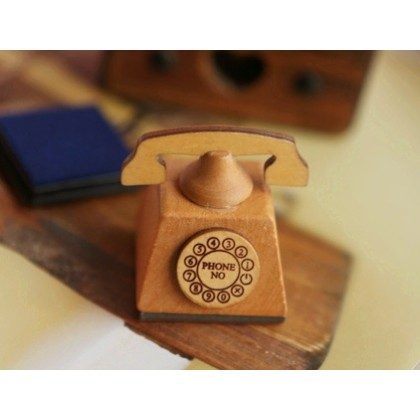 *ZS110(10)* Stamp: Wooden telephone design with free stamp pad