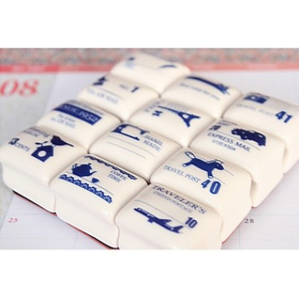 *Z00149* Stamp: Vintage clay stamp and stamp pad set
